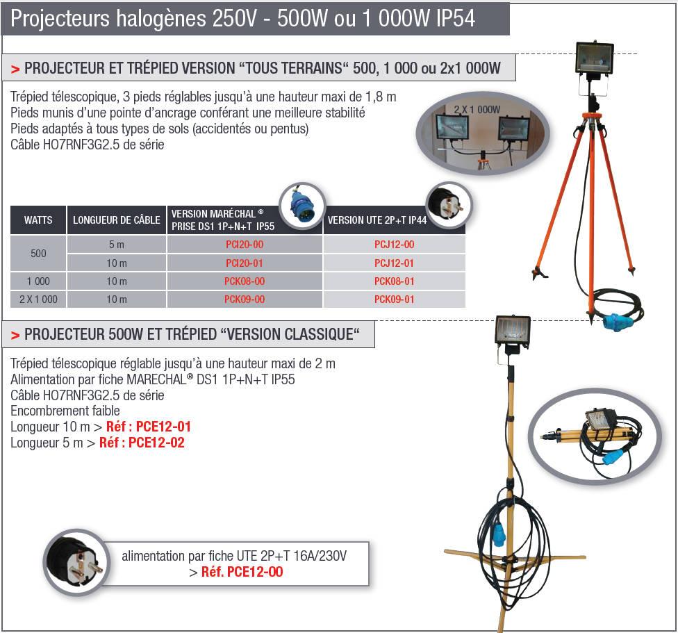 Projecteurs halogènes 250V - 500W ou 1000W IP54