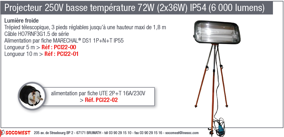 Projecteur 250V basse température 72W (2x36W) IP54 (6000 lumens)