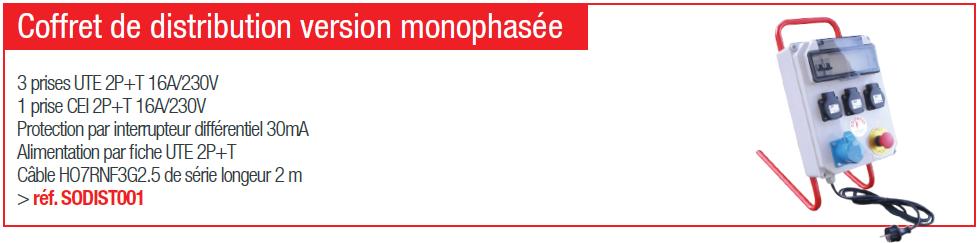 Coffret de distribution version monophasée