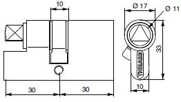 Cylindres profilés - 2 entrées avec fente ou triangle - plan